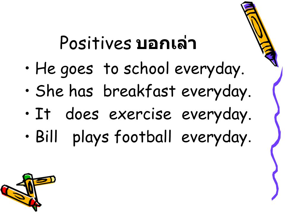 Positives บอกเล่า He goes to school everyday.