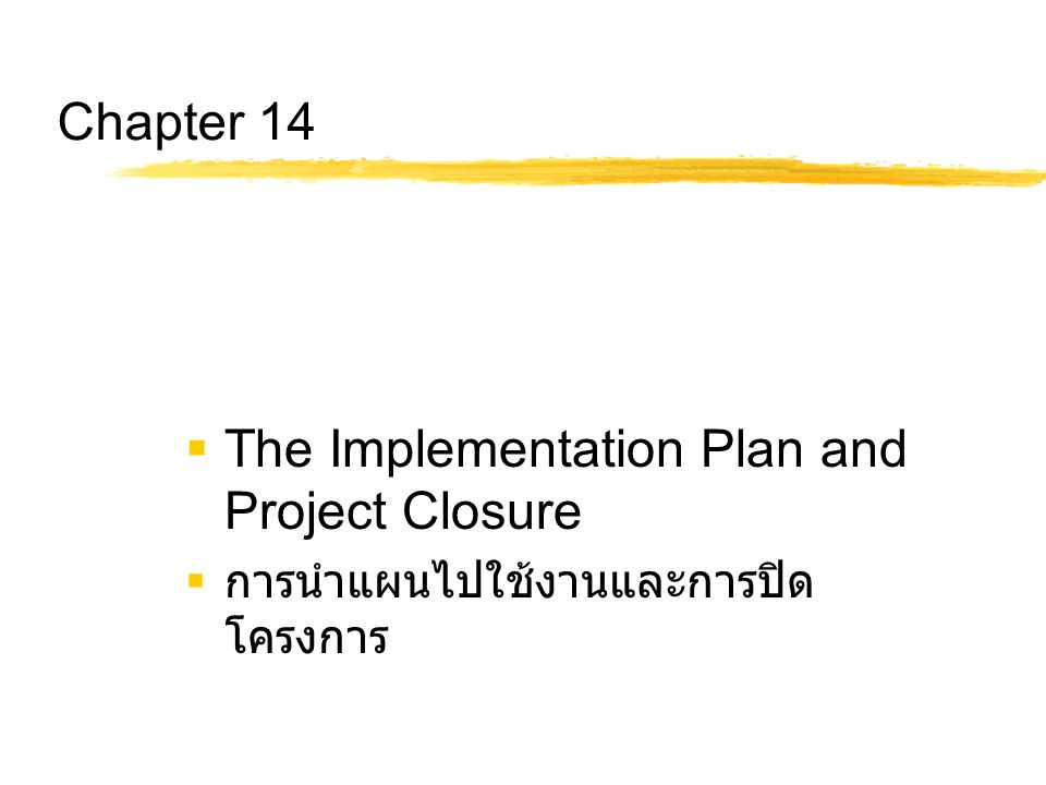The Implementation Plan and Project Closure