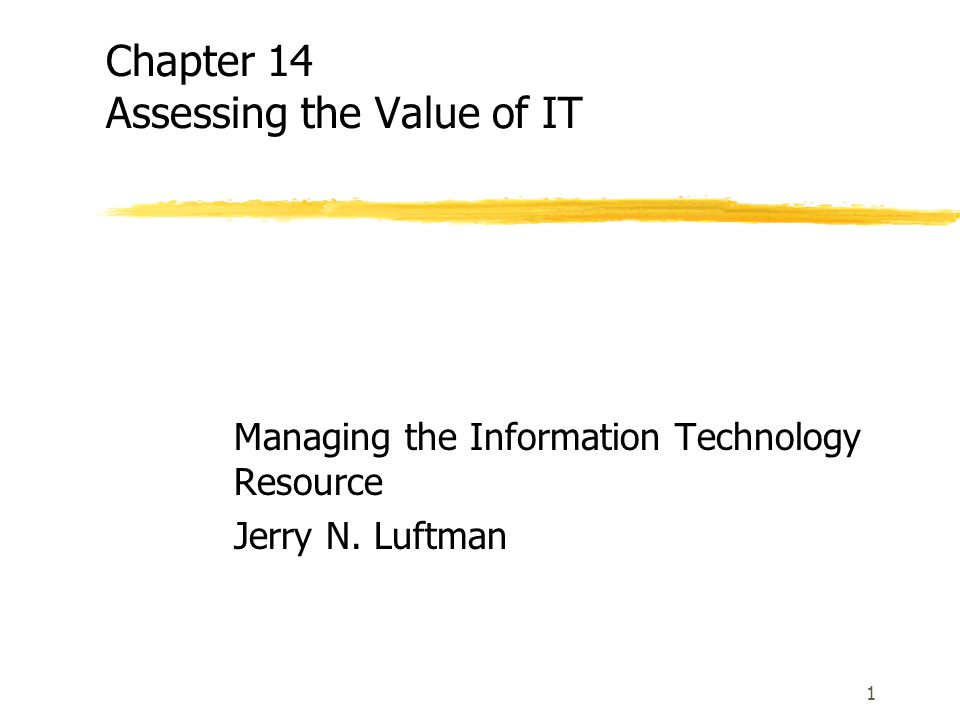 Chapter 14 Assessing the Value of IT