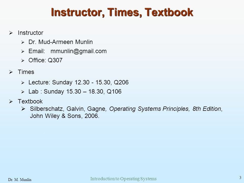Instructor, Times, Textbook