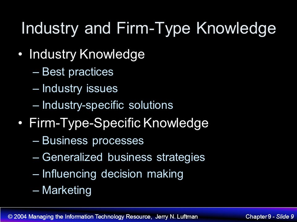 Industry and Firm-Type Knowledge
