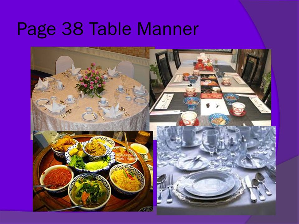 Page 38 Table Manner
