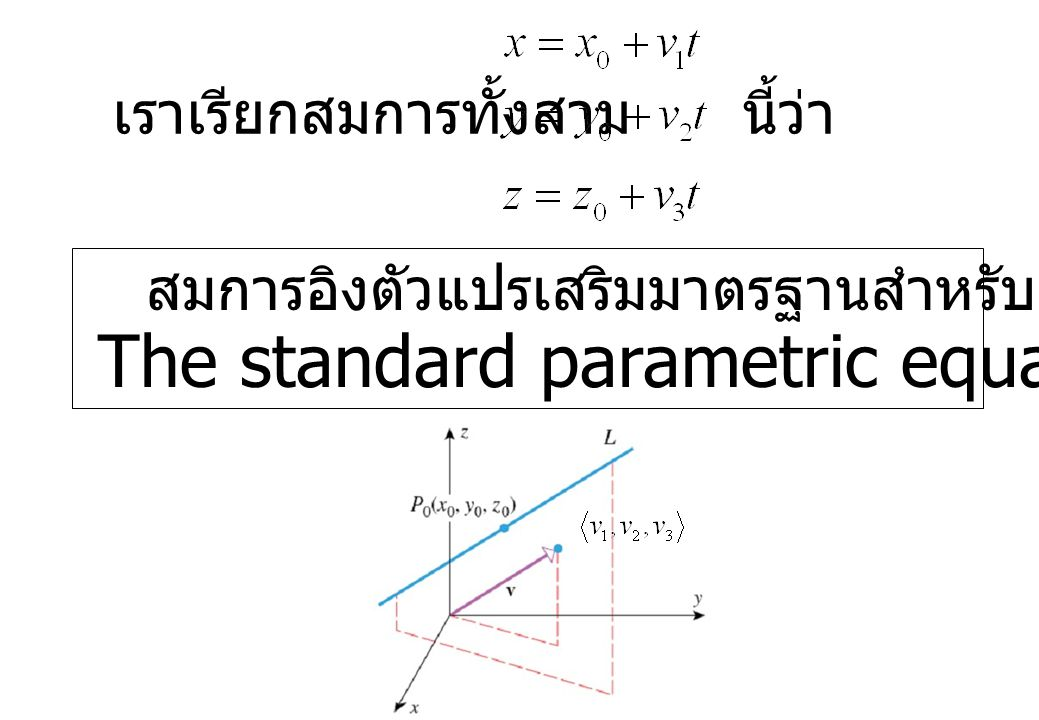The standard parametric equation of the line.