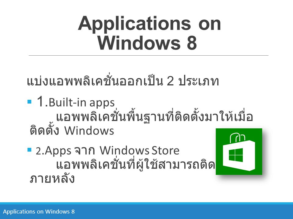 Applications on Windows 8