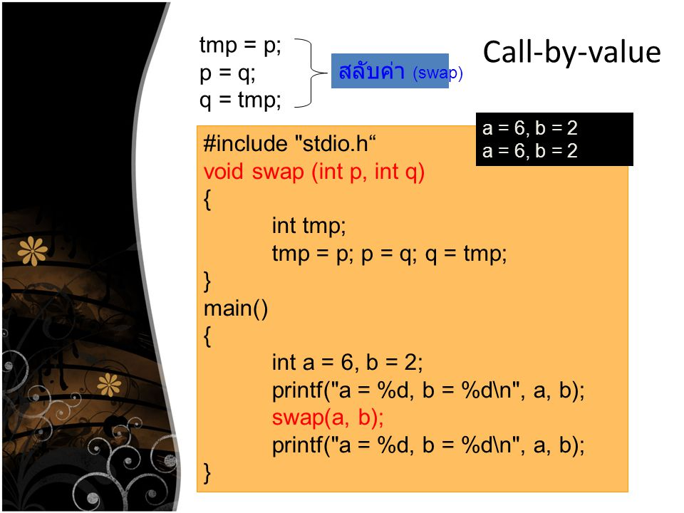Call-by-value tmp = p; p = q; q = tmp; สลับค่า (swap)
