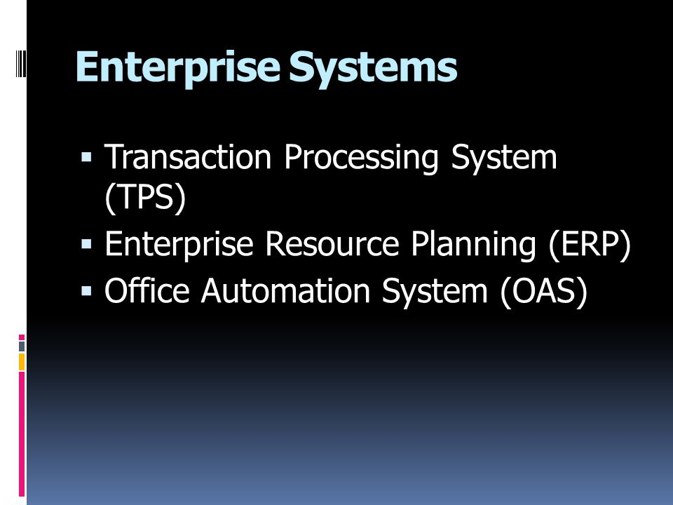 Enterprise Systems Transaction Processing System (TPS)