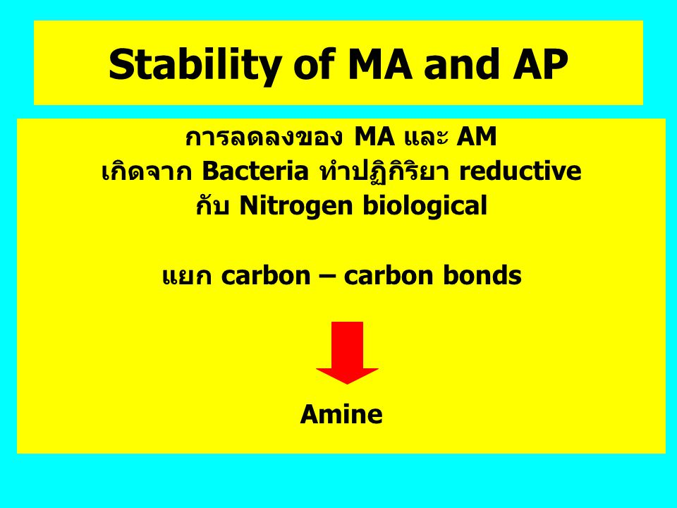 Stability of MA and AP การลดลงของ MA และ AM