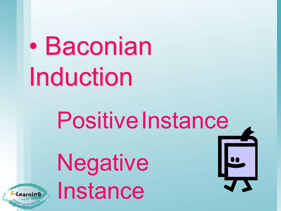 Baconian Induction Negative Instance Alternative Instance