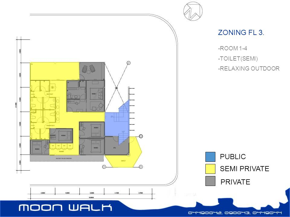 ZONING FL 3. PUBLIC SEMI PRIVATE PRIVATE ROOM 1-4 TOILET(SEMI)