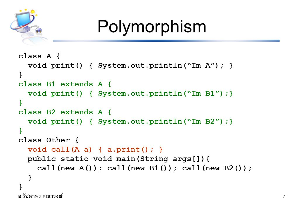Polymorphism class A { void print() { System.out.println( Im A ); } }