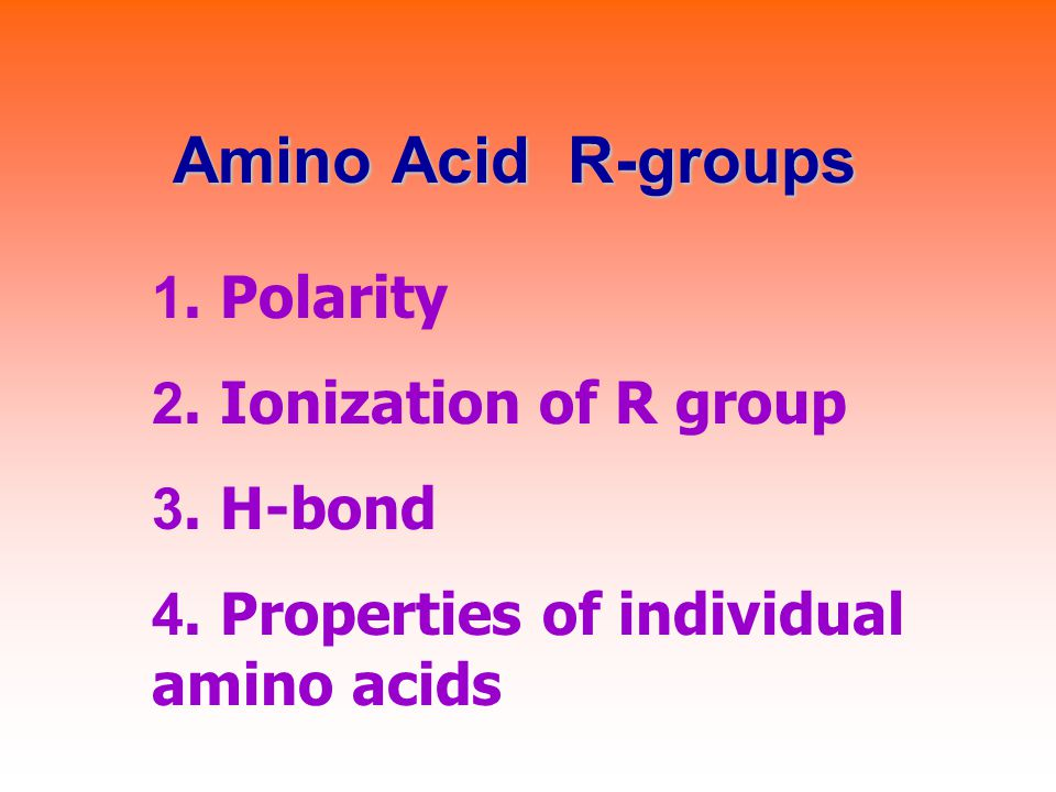 Amino Acid R-groups 1. Polarity 2. Ionization of R group 3. H-bond