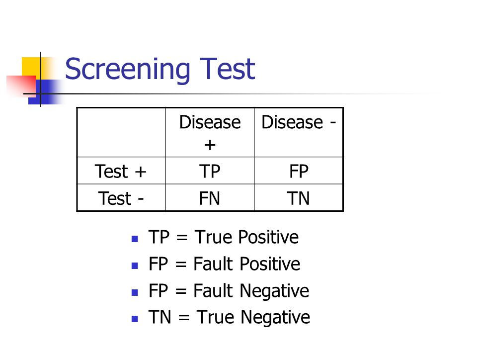 Screening Test Disease + Disease - Test + TP FP Test - FN TN
