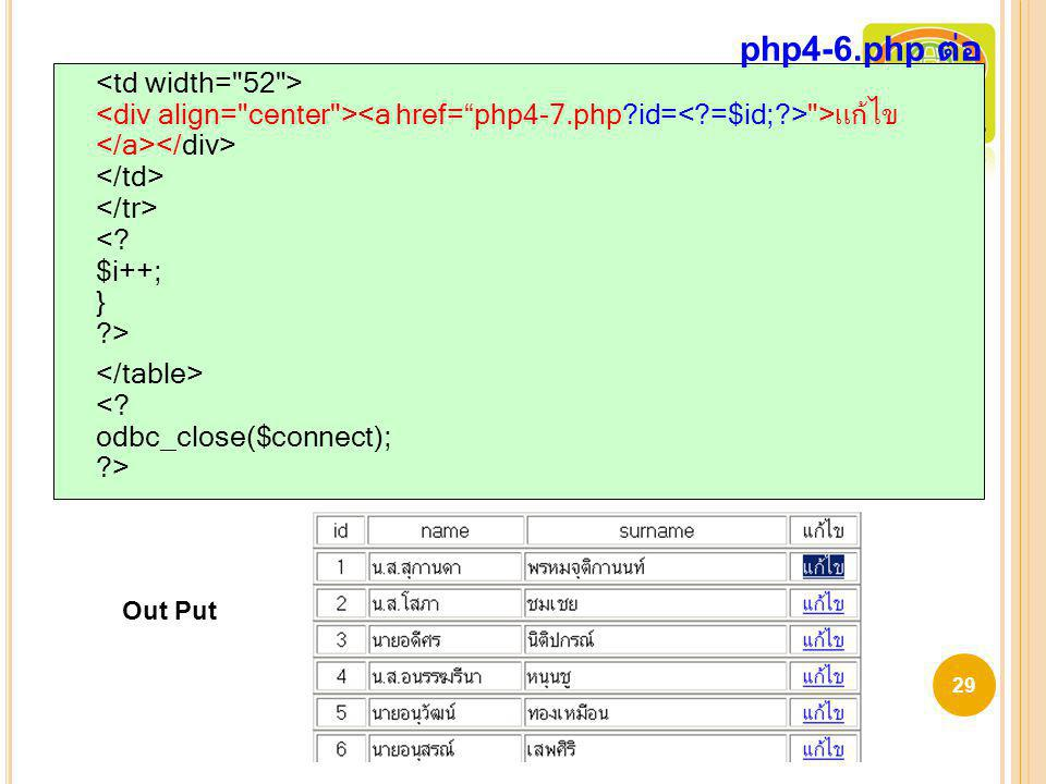 php4-6.php ต่อ <td width= 52 > <div align= center ><a href= php4-7.php id=< =$id; > >แก้ไข </a></div> </td> </tr> < $i++; } >