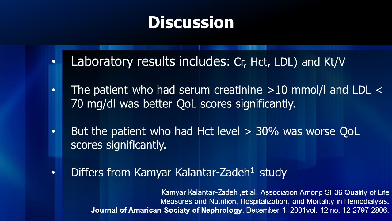 Discussion Laboratory results includes: Cr, Hct, LDL) and Kt/V