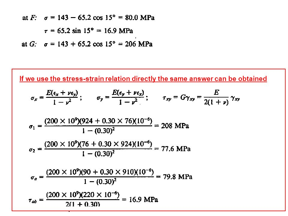 If we use the stress-strain relation directly the same answer can be obtained