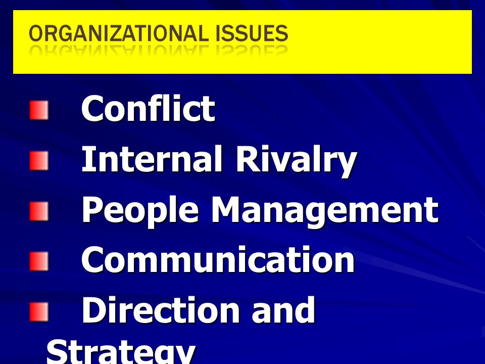 Conflict Internal Rivalry People Management Communication Direction and Strategy