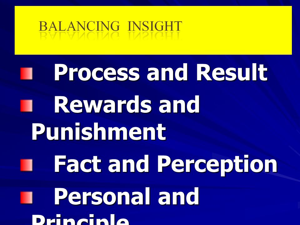 Process and Result Rewards and Punishment. Fact and Perception.