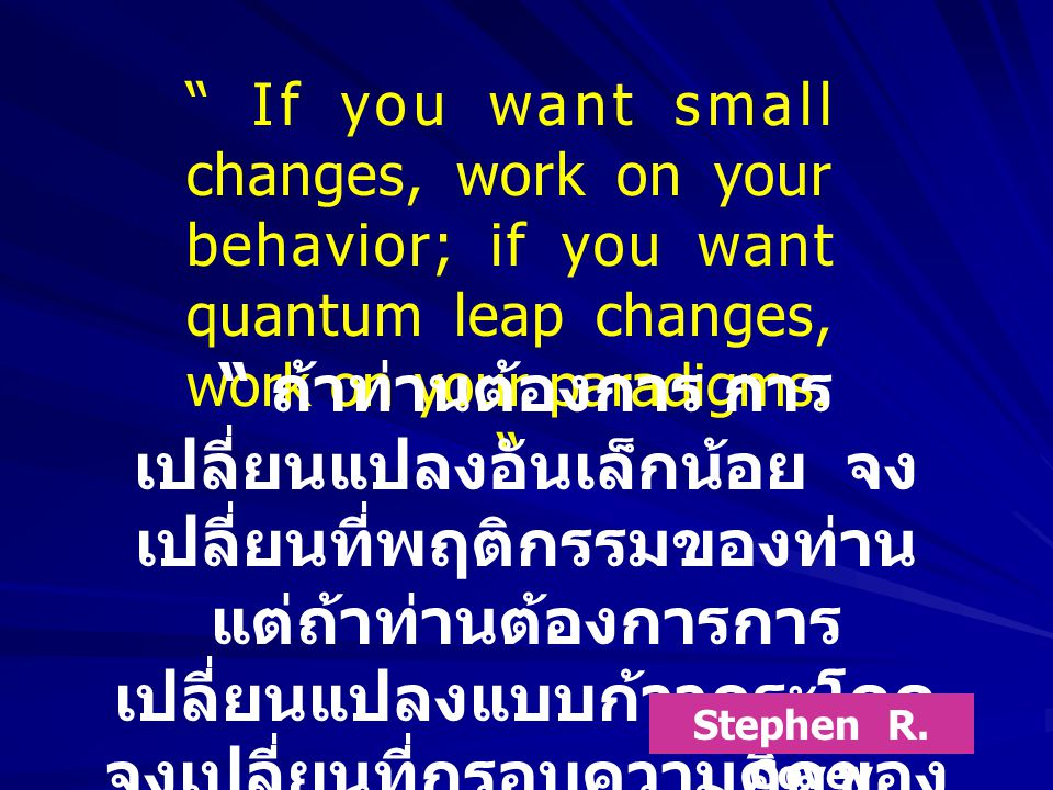 If you want small changes, work on your behavior; if you want quantum leap changes, work on your paradigms.