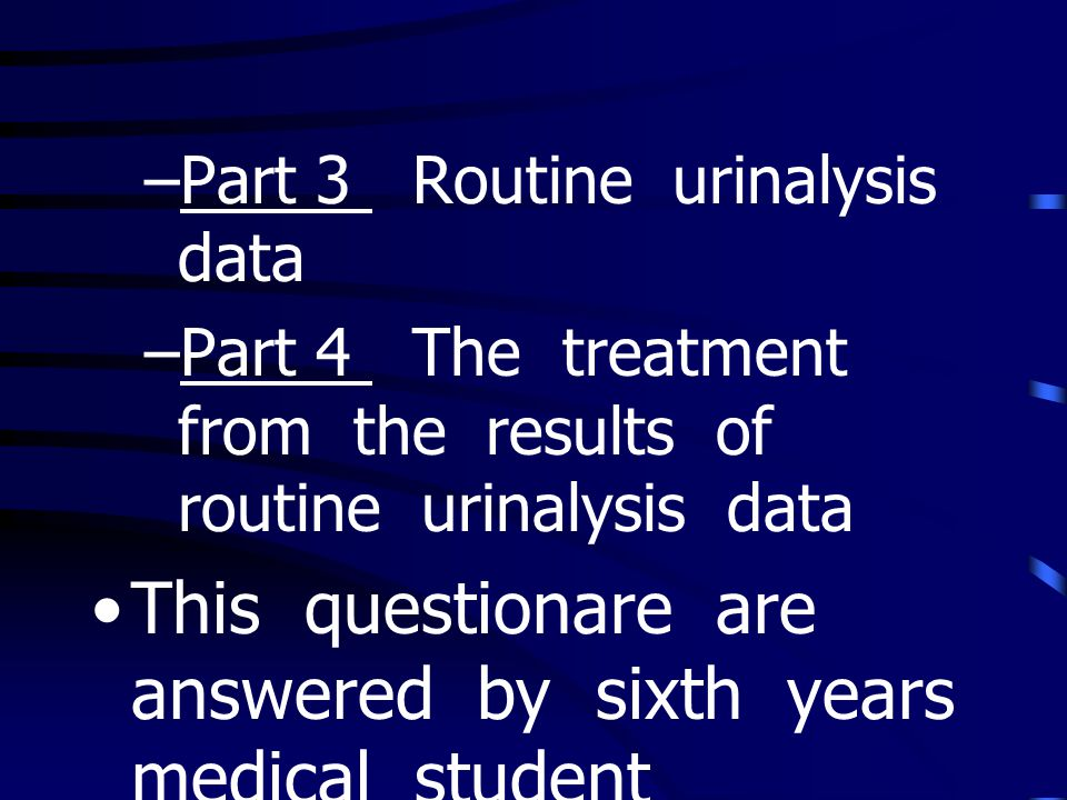 This questionare are answered by sixth years medical student