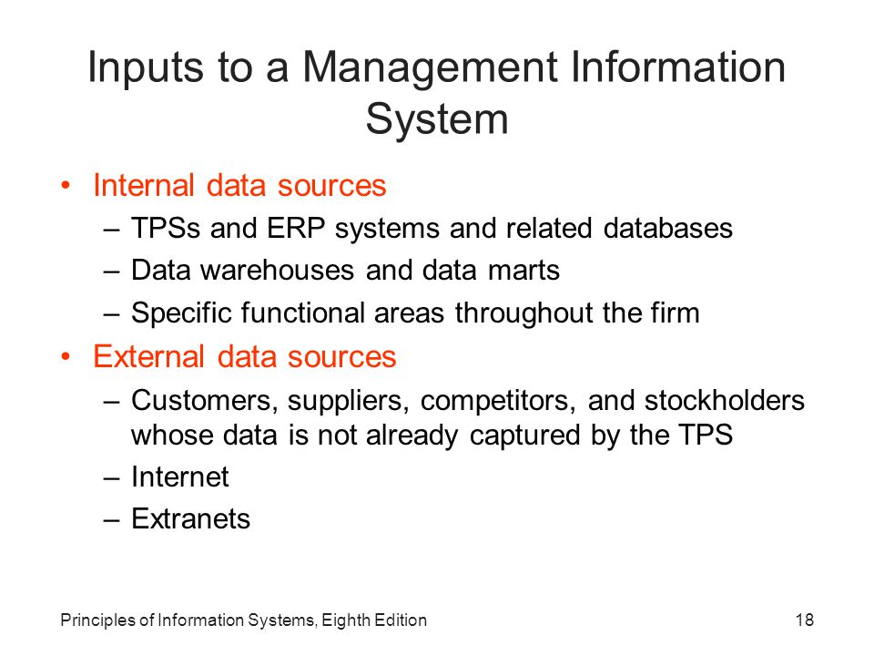 Inputs to a Management Information System