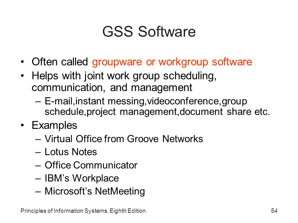 GSS Software Often called groupware or workgroup software