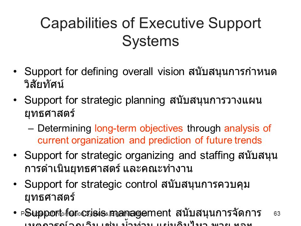 Capabilities of Executive Support Systems