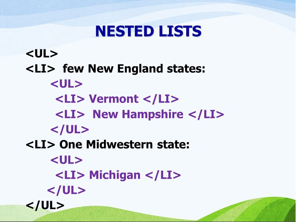 NESTED LISTS <UL> <LI> few New England states:
