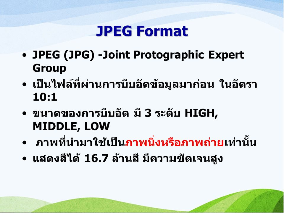 JPEG Format JPEG (JPG) -Joint Protographic Expert Group