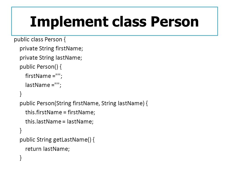 Implement class Person