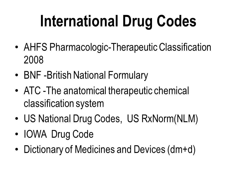 International Drug Codes
