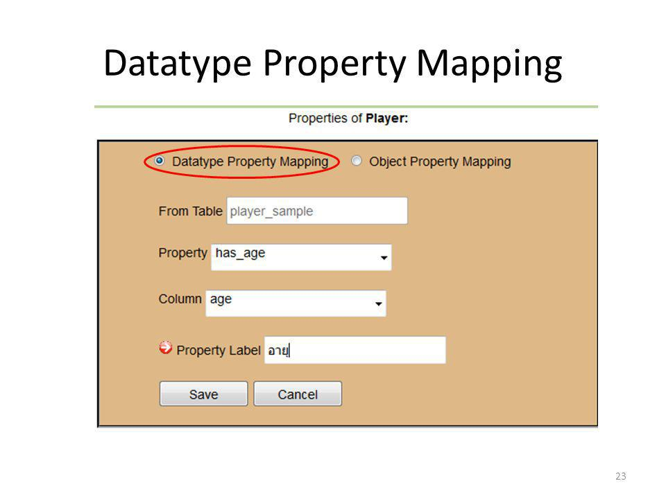 Datatype Property Mapping