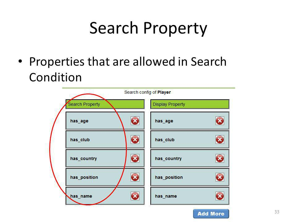 Search Property Properties that are allowed in Search Condition