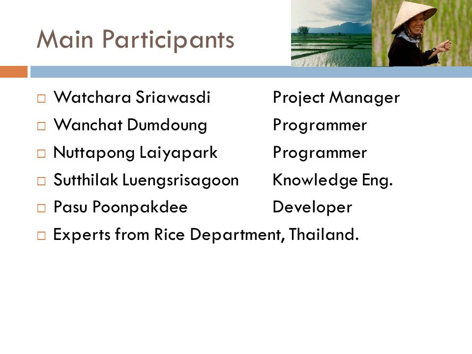 Main Participants Watchara Sriawasdi Project Manager