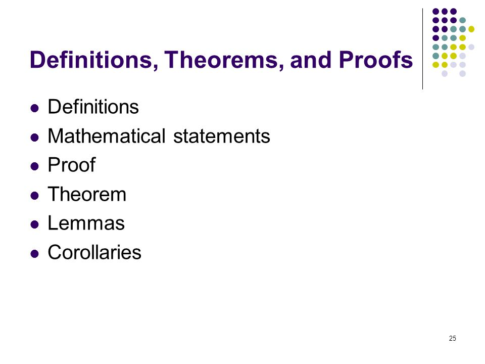 Definitions, Theorems, and Proofs