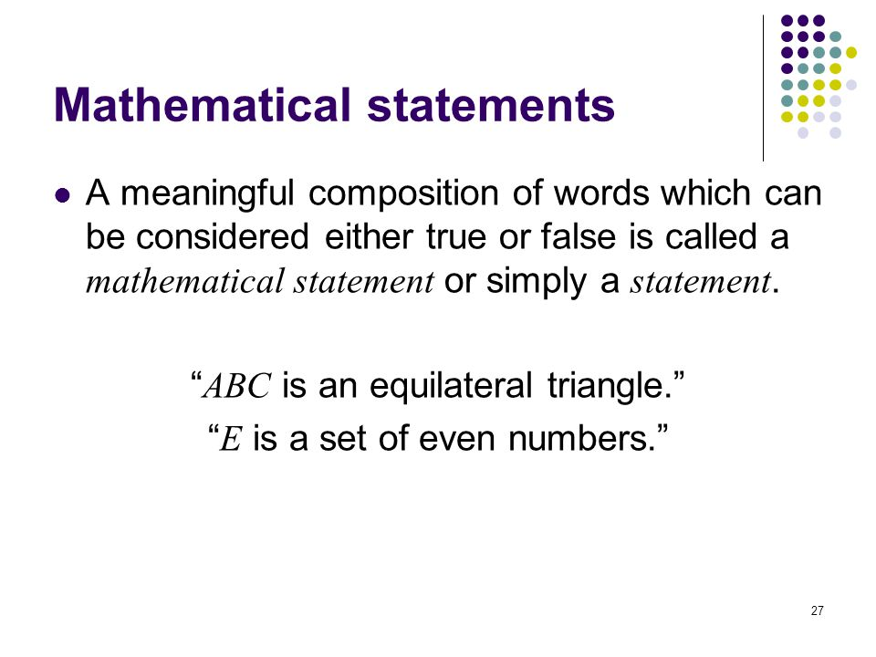 Mathematical statements