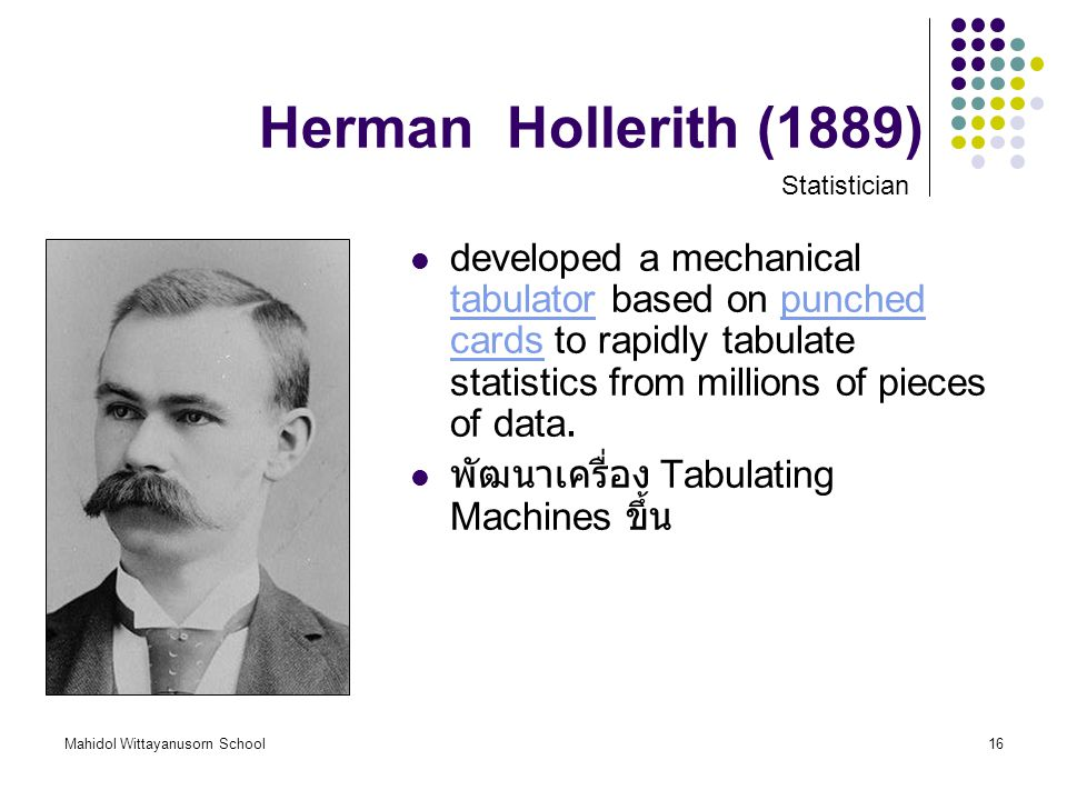 Herman Hollerith (1889) Statistician.