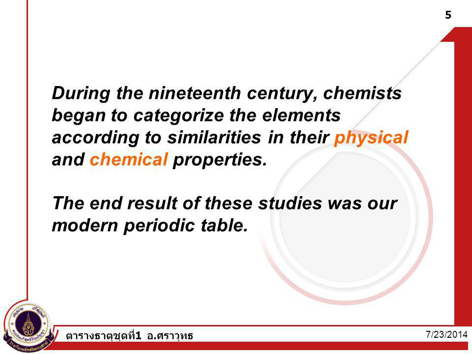 During the nineteenth century, chemists began to categorize the elements according to similarities in their physical and chemical properties. The end result of these studies was our modern periodic table.