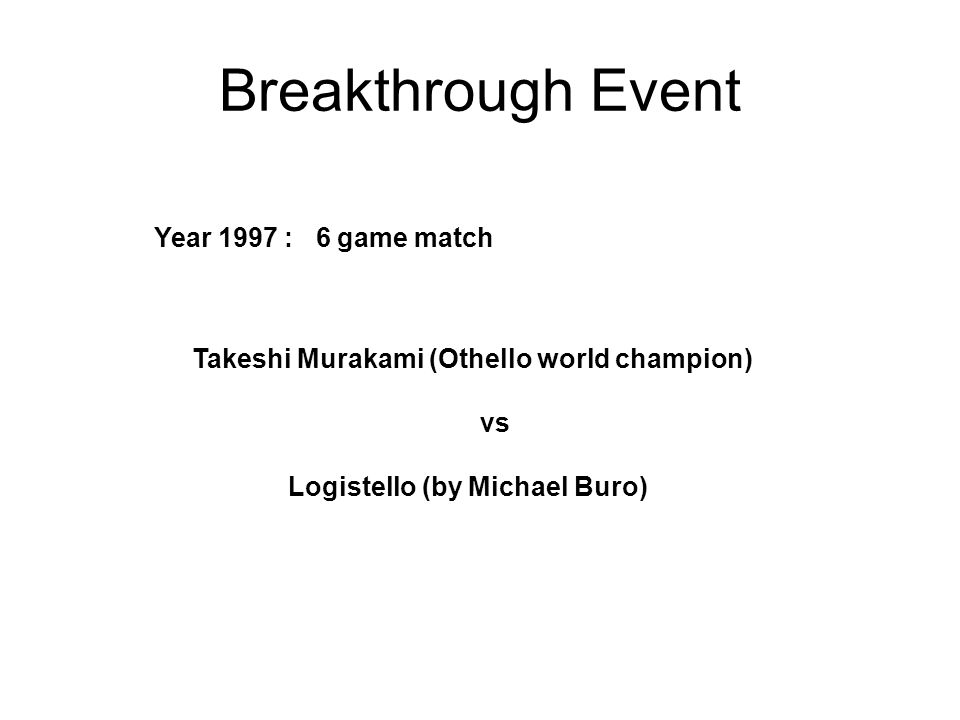 Breakthrough Event Year 1997 : 6 game match