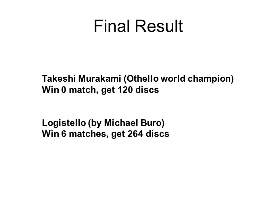 Final Result Takeshi Murakami (Othello world champion)