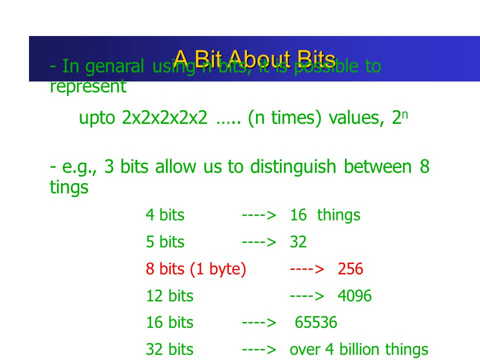 A Bit About Bits - In genaral using n bits, it is possible to represent. upto 2x2x2x2x2 ….. (n times) values, 2n.