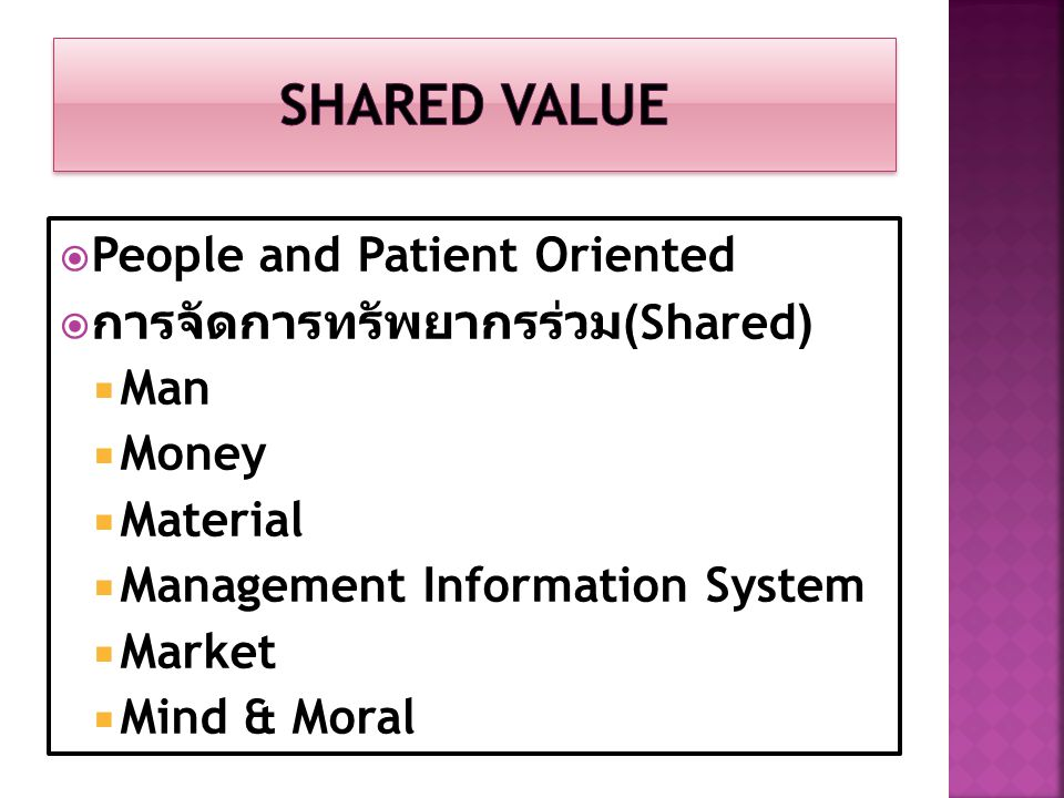 Shared Value People and Patient Oriented การจัดการทรัพยากรร่วม(Shared)