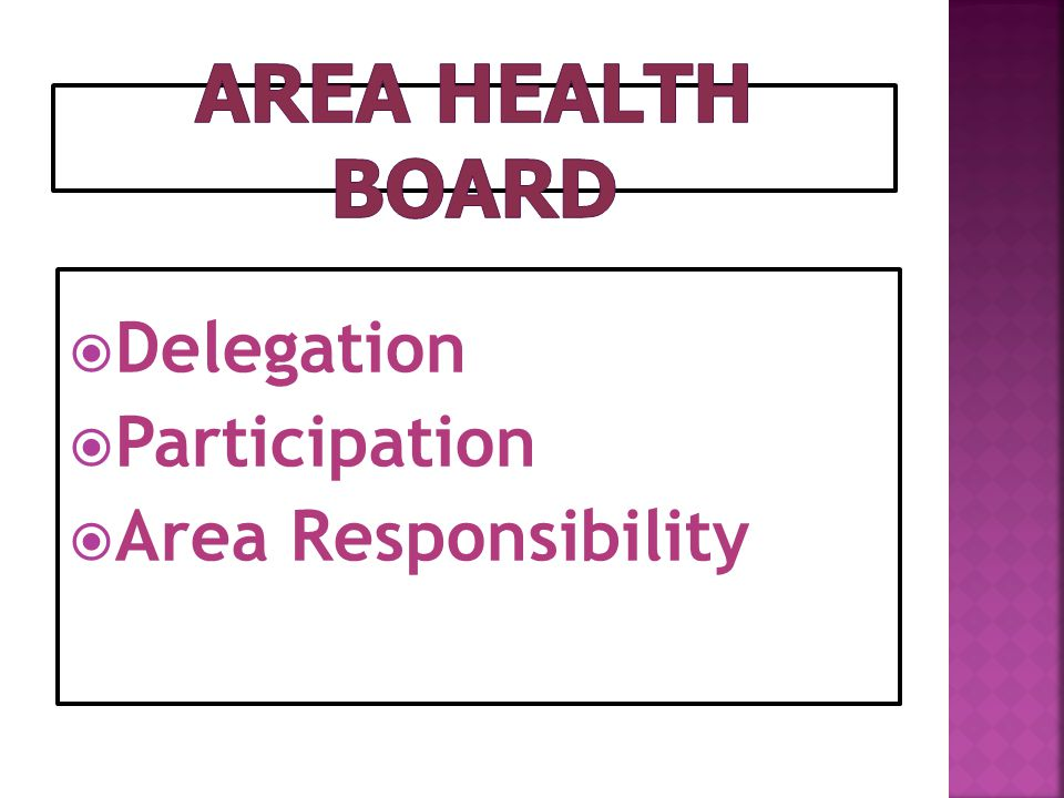 Area Health Board Delegation Participation Area Responsibility