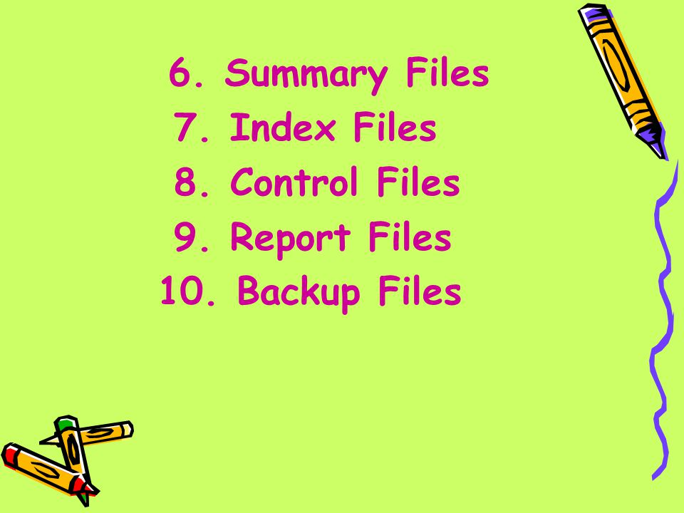 7. Index Files 8. Control Files 9. Report Files 10. Backup Files