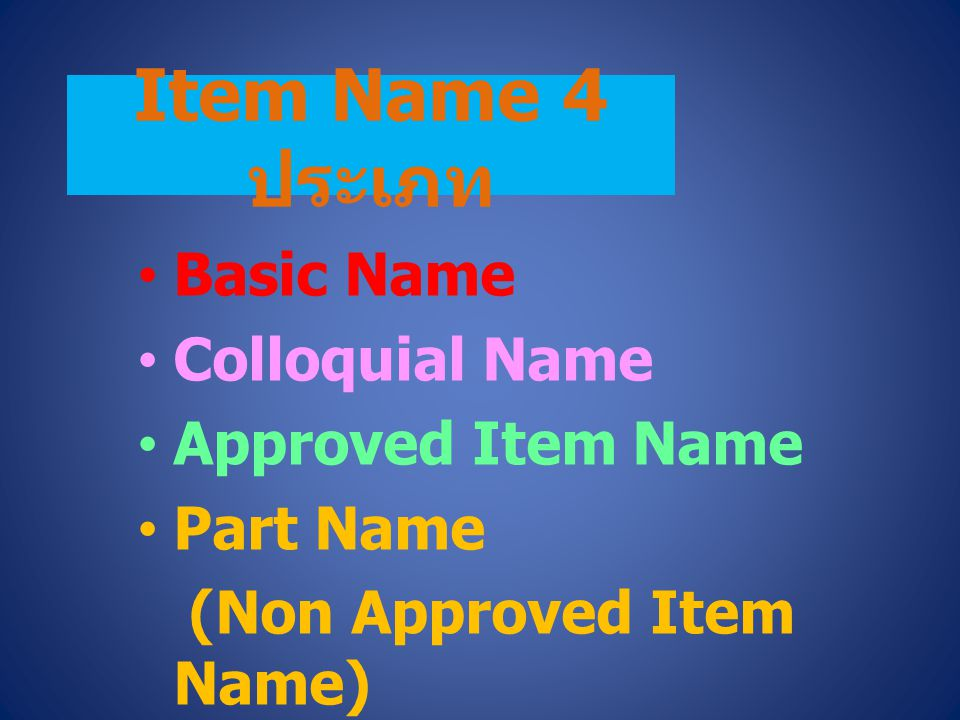 Item Name 4 ประเภท Basic Name Colloquial Name Approved Item Name