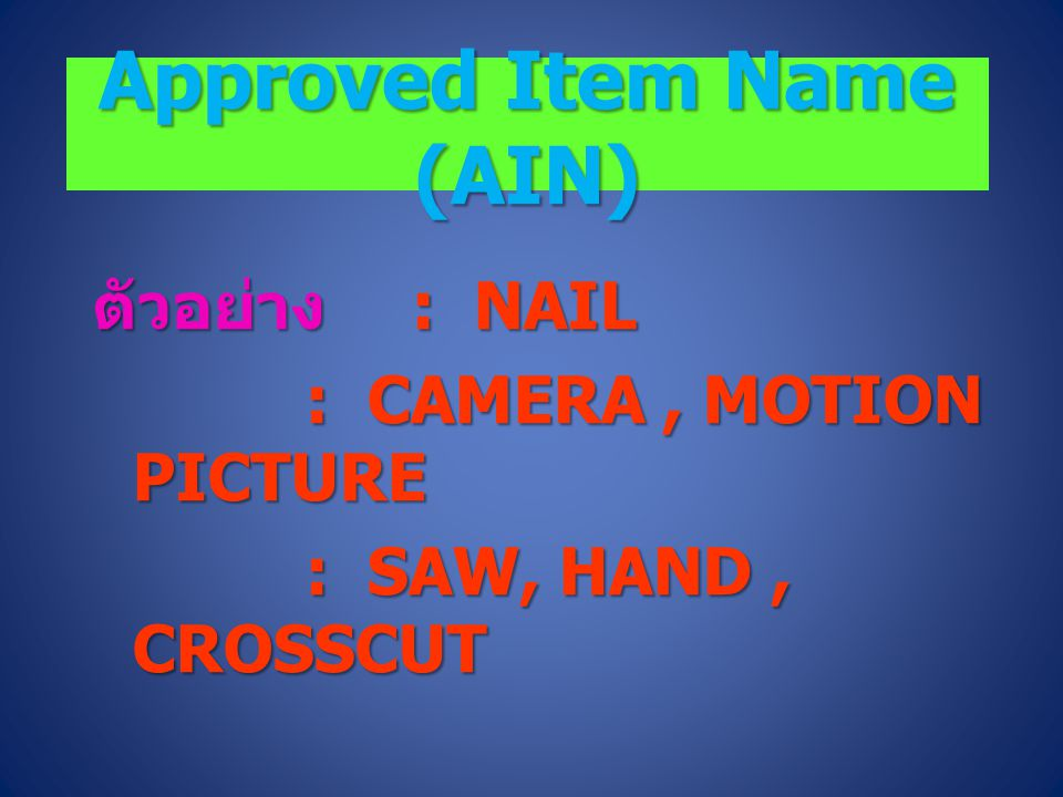 Approved Item Name (AIN)