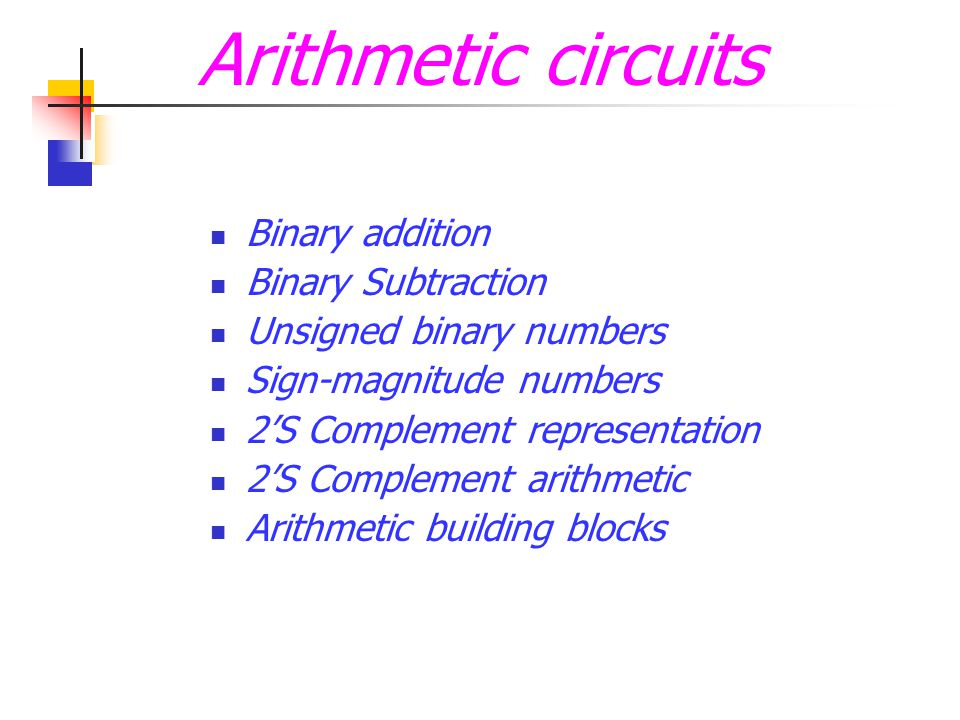 Arithmetic circuits Binary addition Binary Subtraction