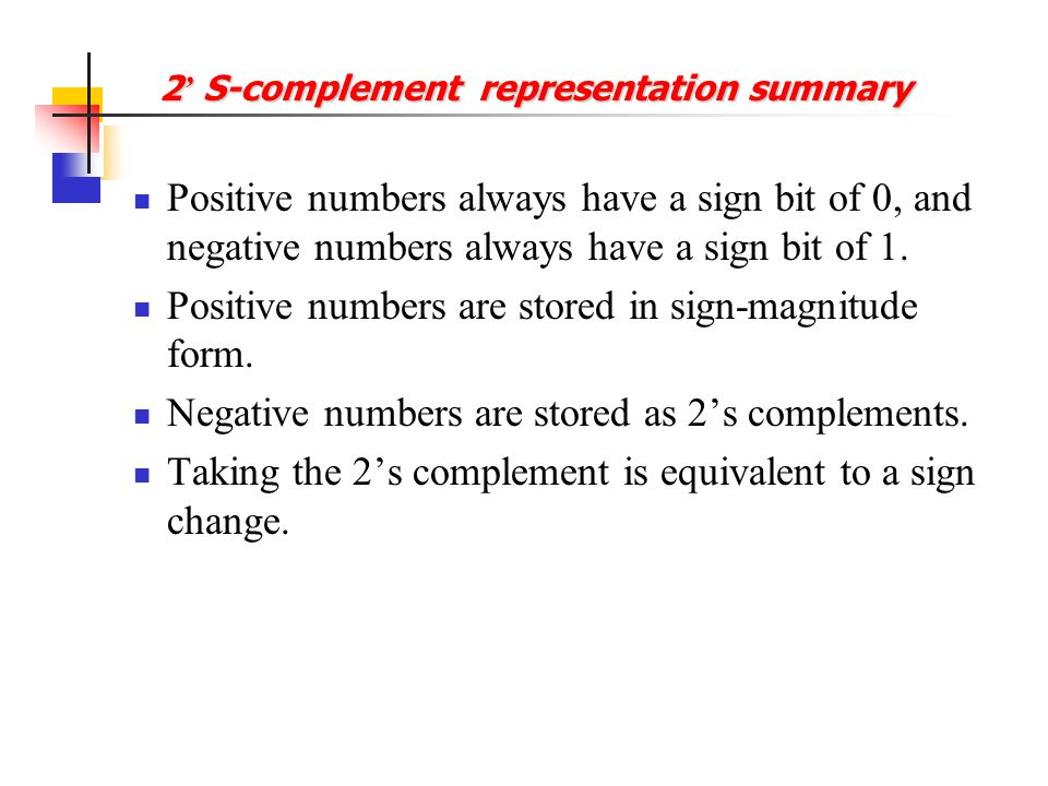 2' S-complement representation summary