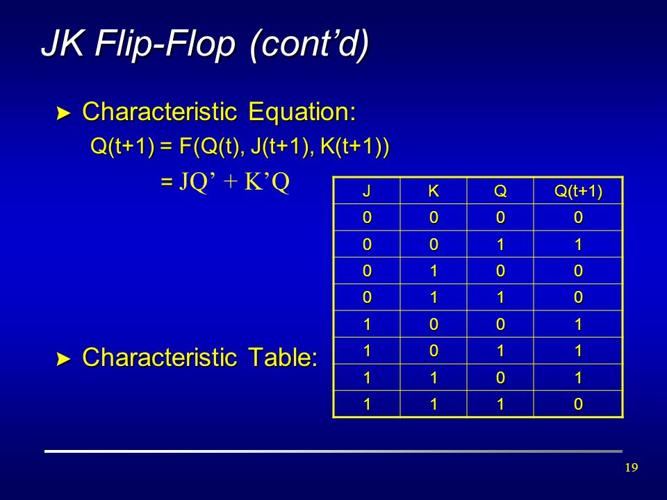 JK Flip-Flop (cont'd) Characteristic Equation: Characteristic Table:
