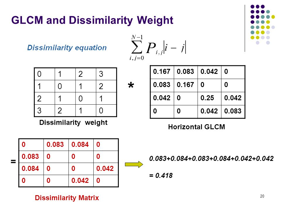 GLCM and Dissimilarity Weight