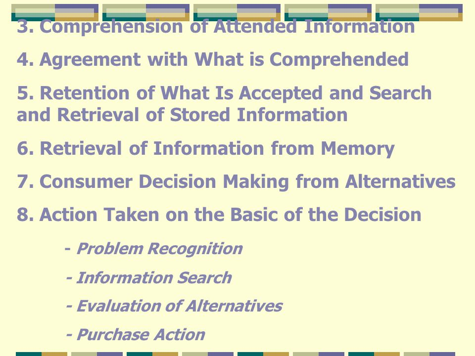 3. Comprehension of Attended Information